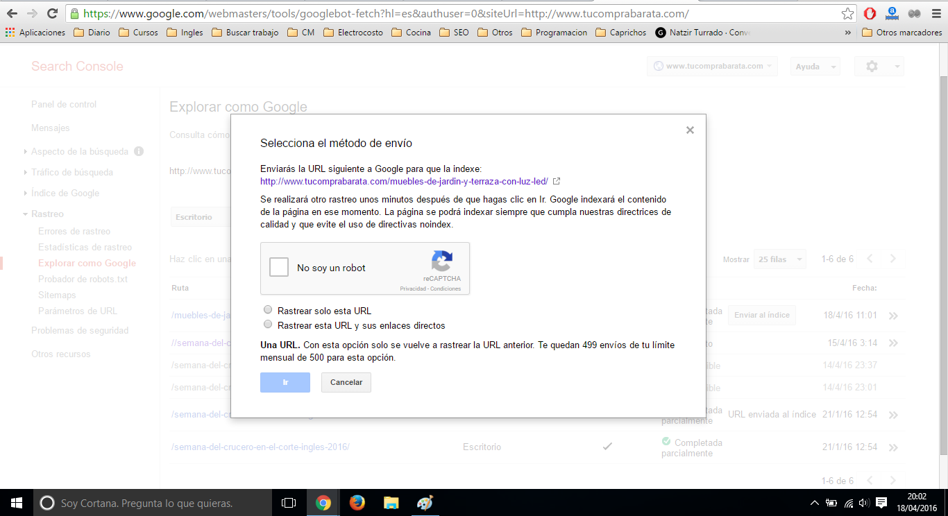 indexando una pagina con google fetch